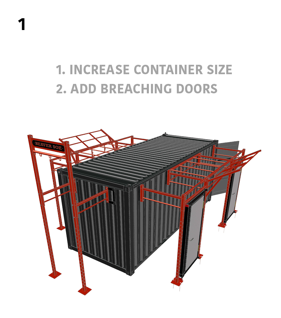 1.) Basic Breaching- 1. Increase Container Size 2. Add Breaching Doors