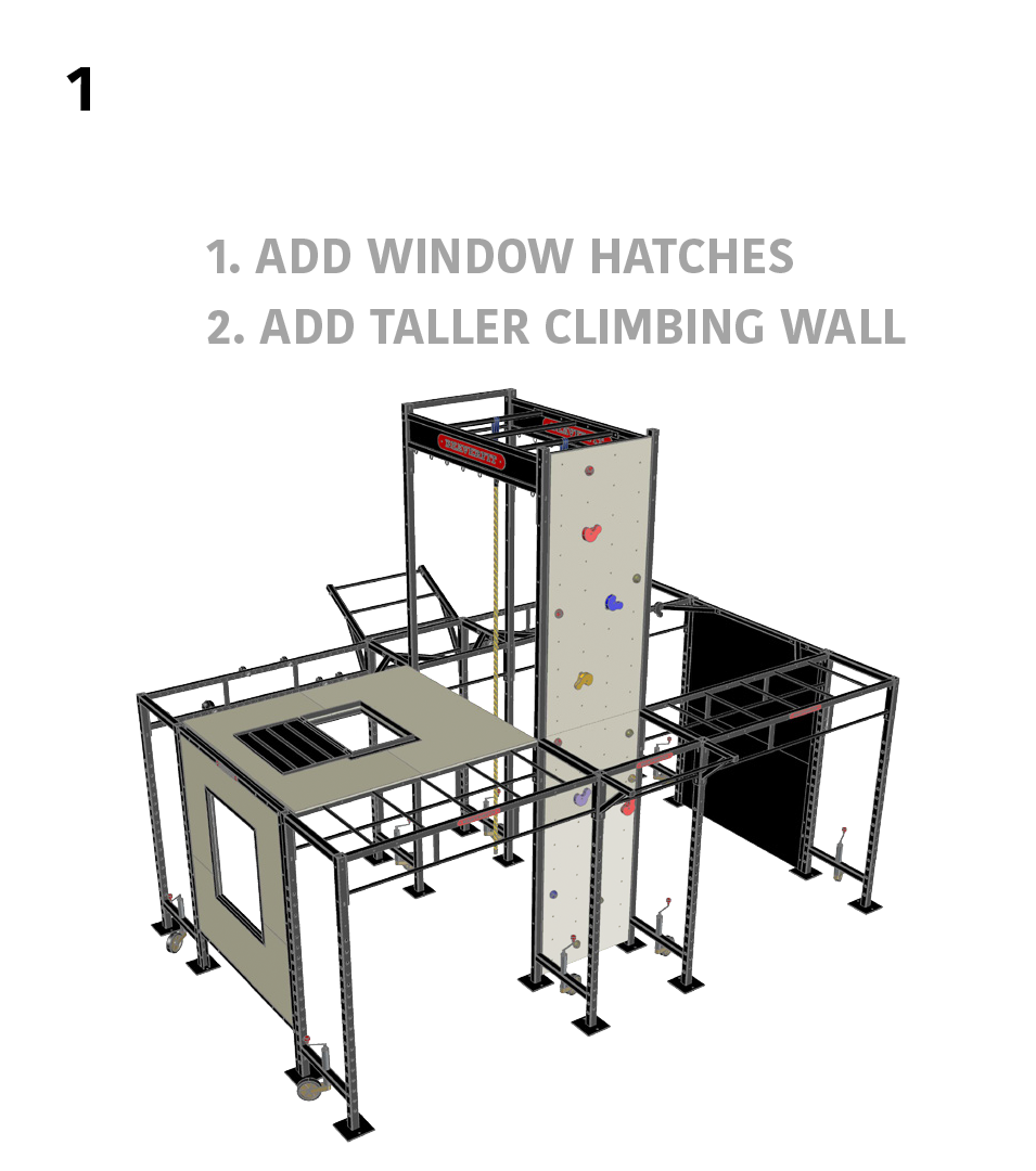1.) Height Training- 1. Add Window Hatches, 2. Add Taller Climbing Wall