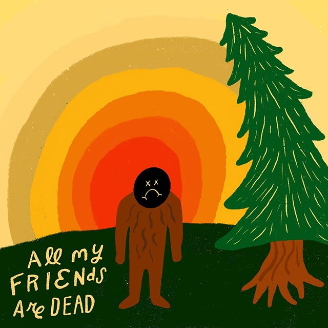 Here's a thing I did a few months back. It's called sad-squatch. I didn't completely love it and then I happened upon the name and now I love it. Ive been trying to draw / illustrate more often and will be taking on more client work in this realm in my free time. Just putting that out into the universe along with this sad-squatch. ✍🏻 #dark #darkhumor #illustration #sasquatch #sadsquash #procreate