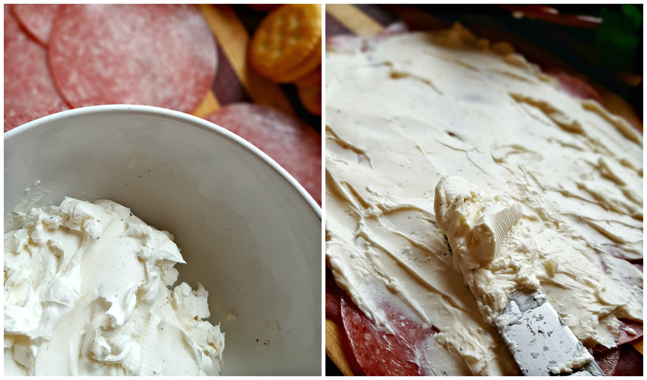 Step 2: Spread Cream Cheese over the Salami