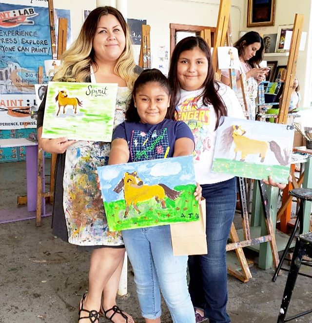 What a fun way to spend a Saturday afternoon! We hung out at the @paint_lab in #SantaMonica celebrating the new @Netflix seasons of @dreamworksanimation #SpiritRidingFree & #SheRa. We're totally legitimate artists now!!! @spiritridingfree @dreamworksshera #art #artists #painting #artclass #horse #SanMo #saturday #socal