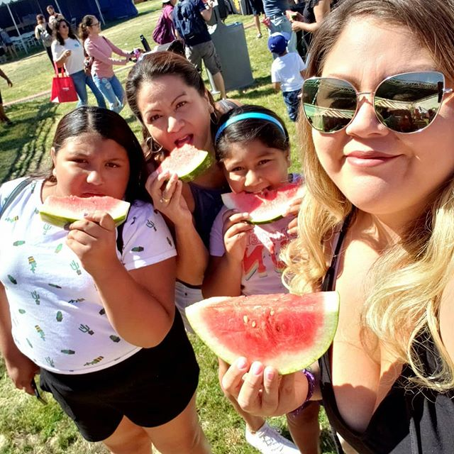 We had the best morning at the @cawatermelonfestival! My mom LOVES 🍉🍉🍉 so much, she was so excited to go. The girls had a blast too, zip lining, walking on water, and playing. I was happy to have all the watermelon I could eat, with Tajin of course! #summer #watermelonfestival #socal #watermelon #family