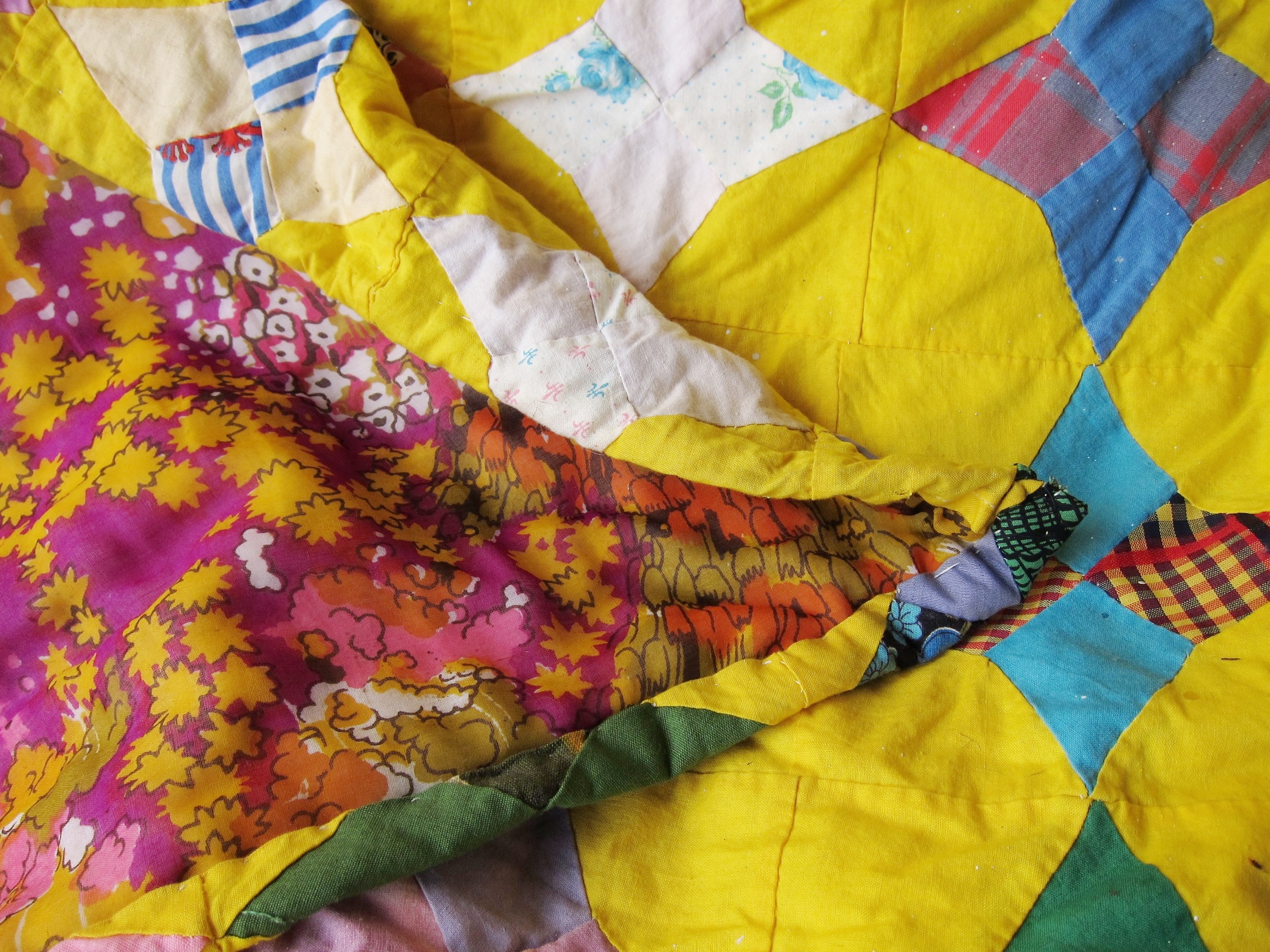 """""""Little Yellow"""" Second-hand fabrics from thrift stores. 2016."""