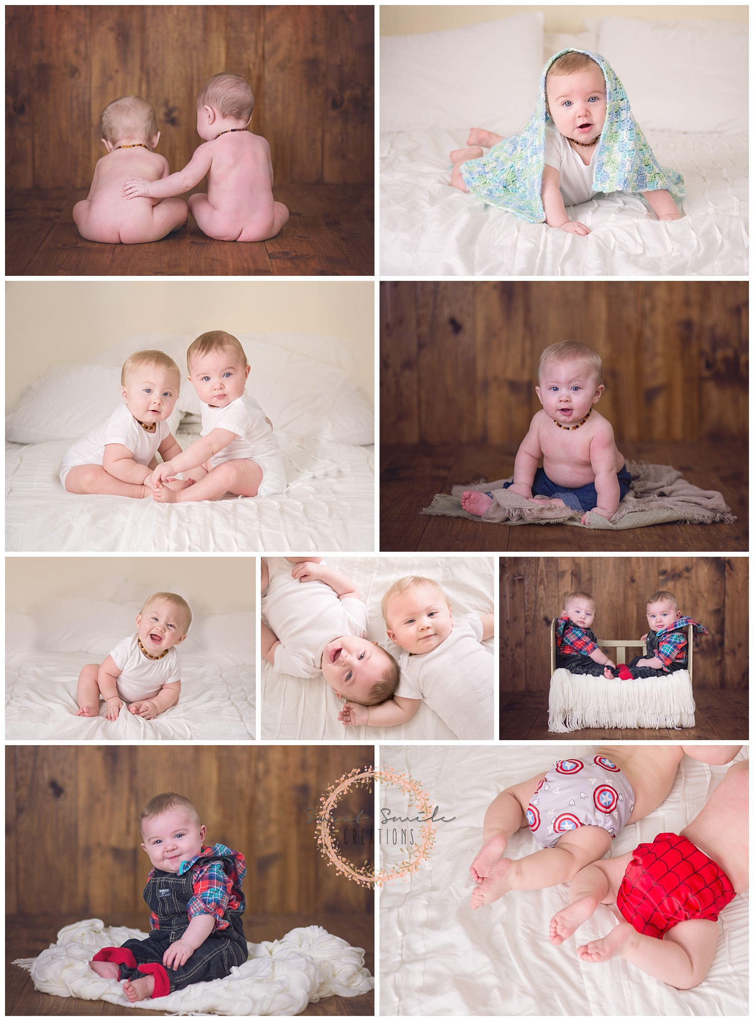 Twin 6 month old boys. Baby Session. www.sweetsmilecreations.com