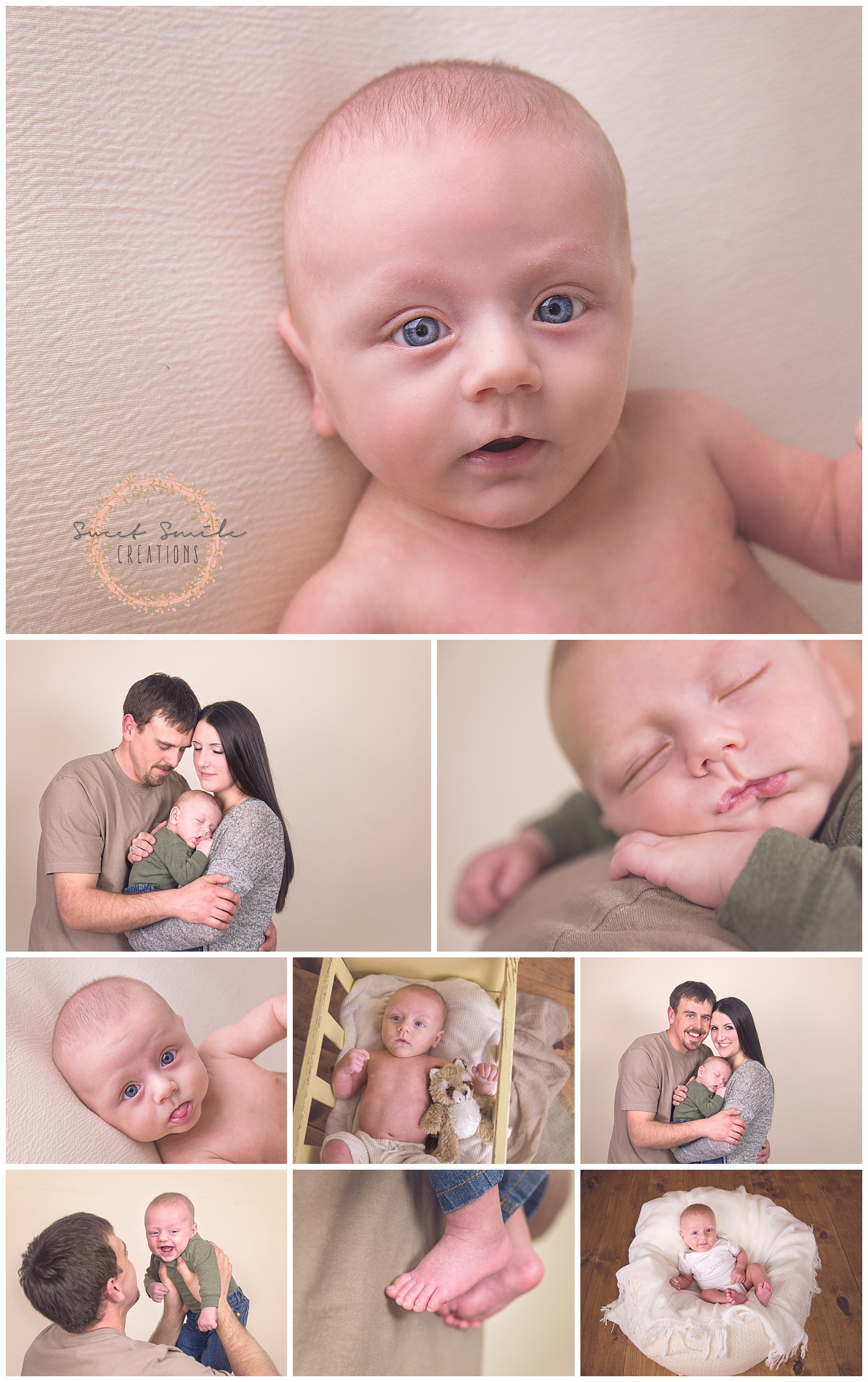 Baby Boy Photo session. Baby feet. sleeping on moms chest, laughing with dad. www.sweetsmilecreations.com