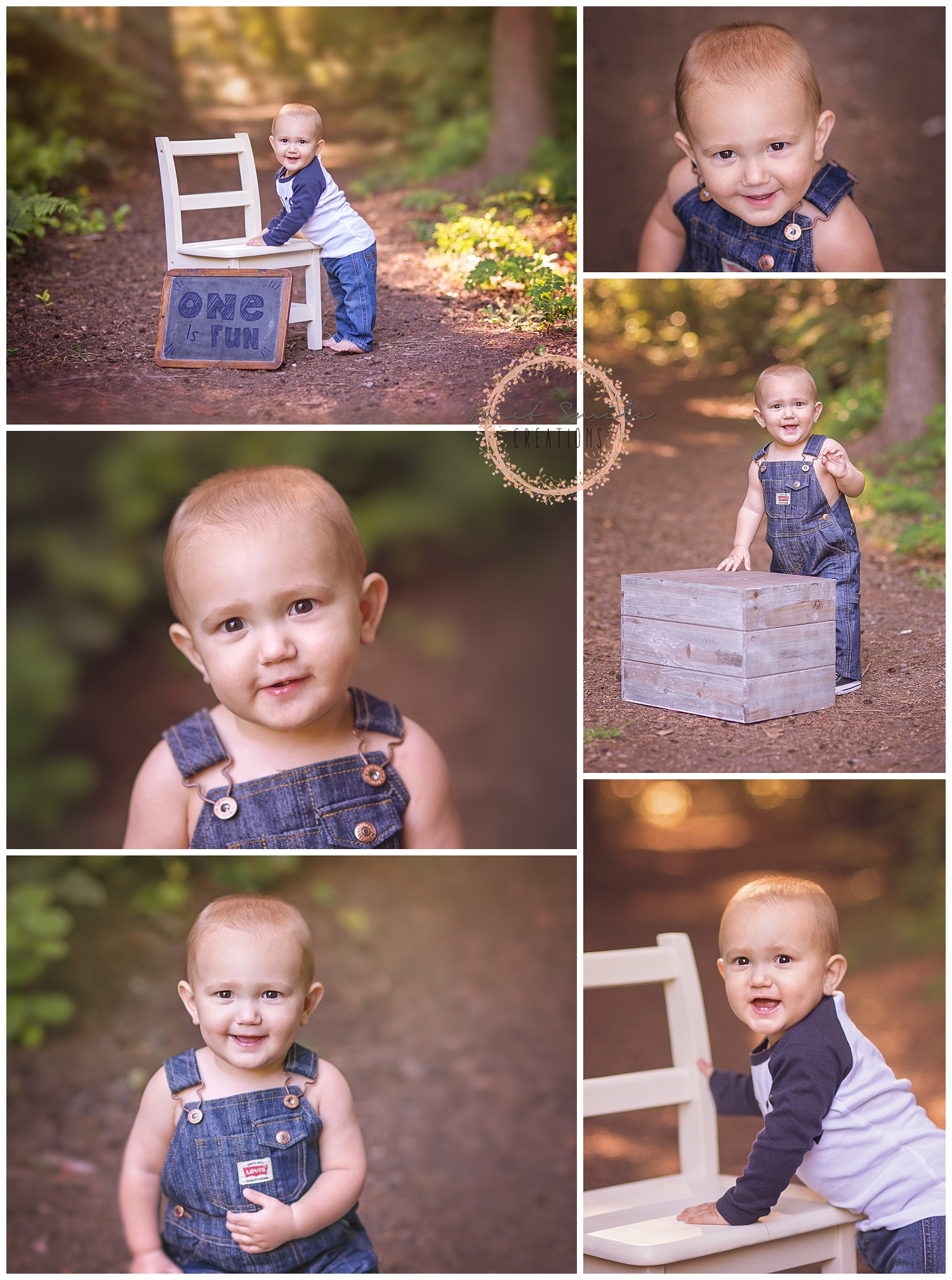 Baby boy in overalls smiling at First Birthday Session outdoors in the woods