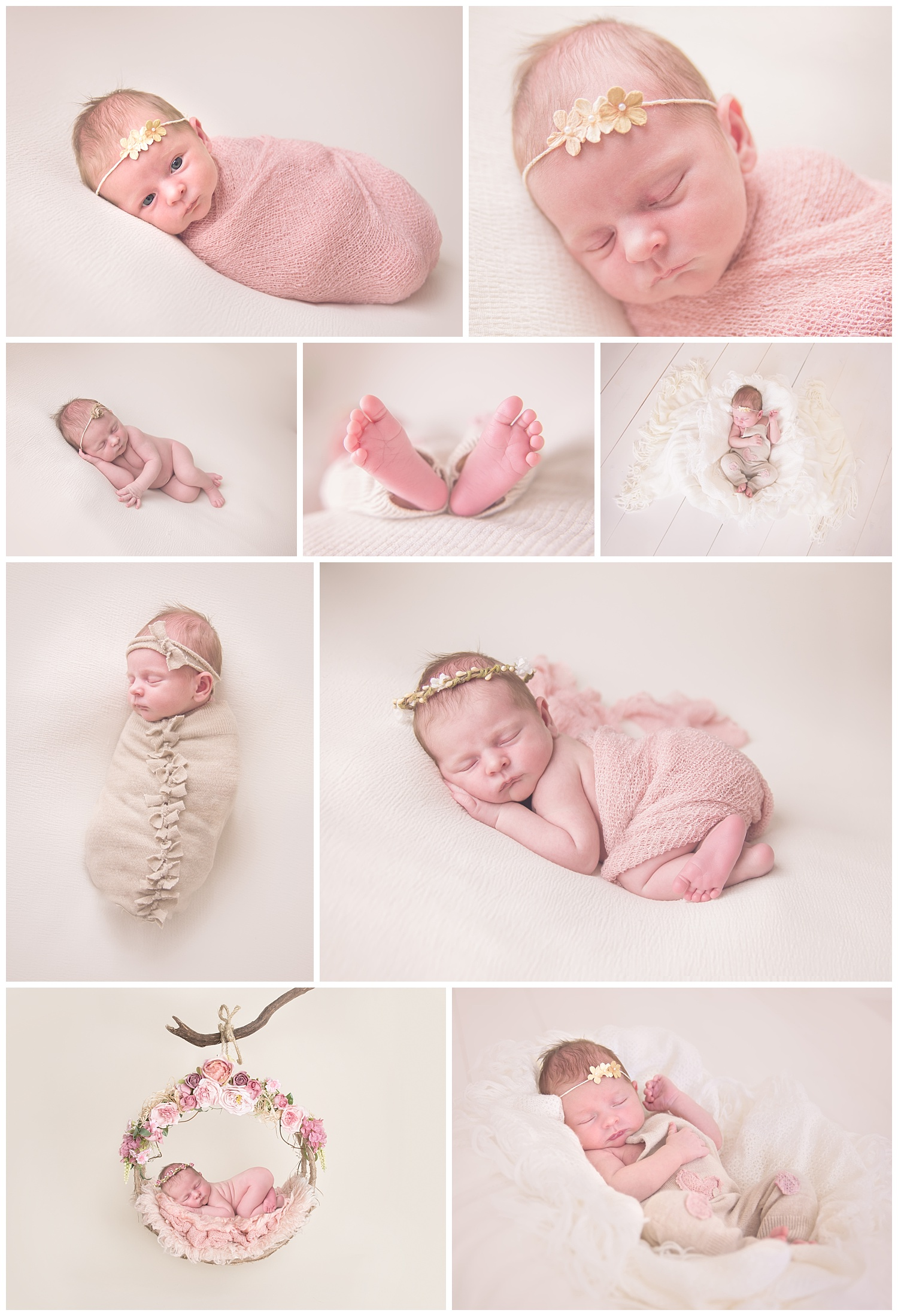 Newborn Baby girl wrapped in pink cloth in Sequim Newborn Photography Studio