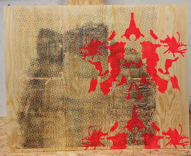 Rorschach on Vincent 2015. Xerox transfer and spray on pine plywood. #vincentgallo #rorchach for #thediagnosedgeneration #jagsthlm #wallery #wallerygallery #contemporaryart