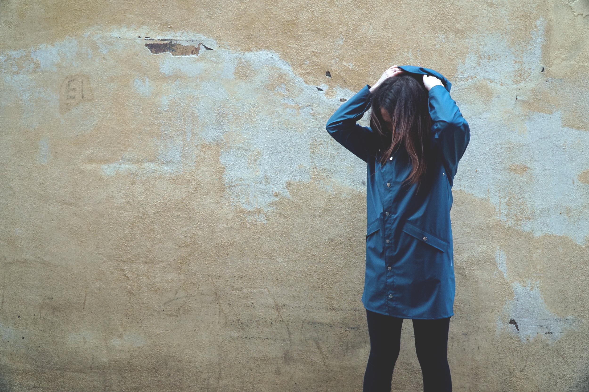 Rains Long Jacket in Blue