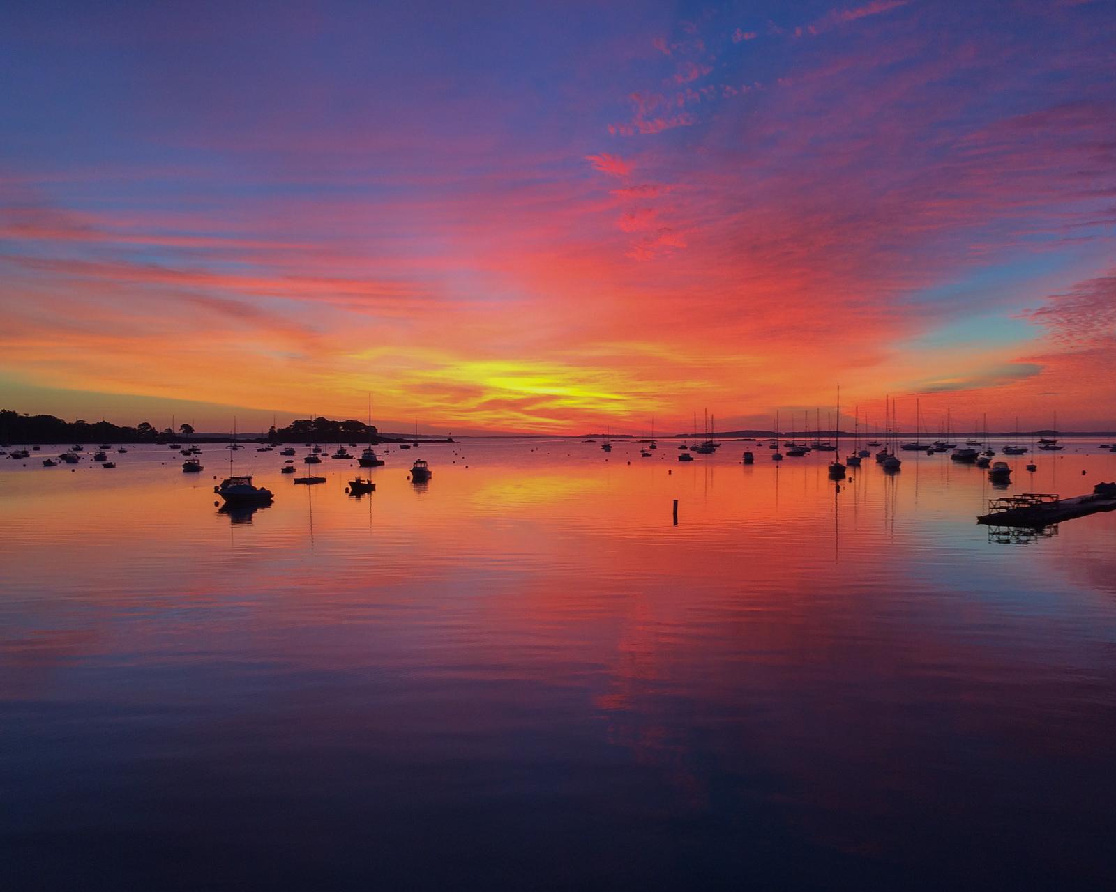 Sunrise over Camden Harbor, Maine, 2017. iPhone 5S.