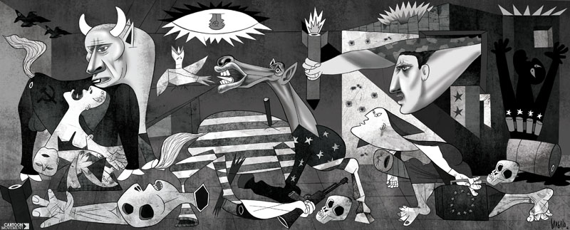 Vasco Gargalo's perspective on the   civil war in Syria  , based on the most powerful anti-war painting in history,   Guernica     by Picasso.