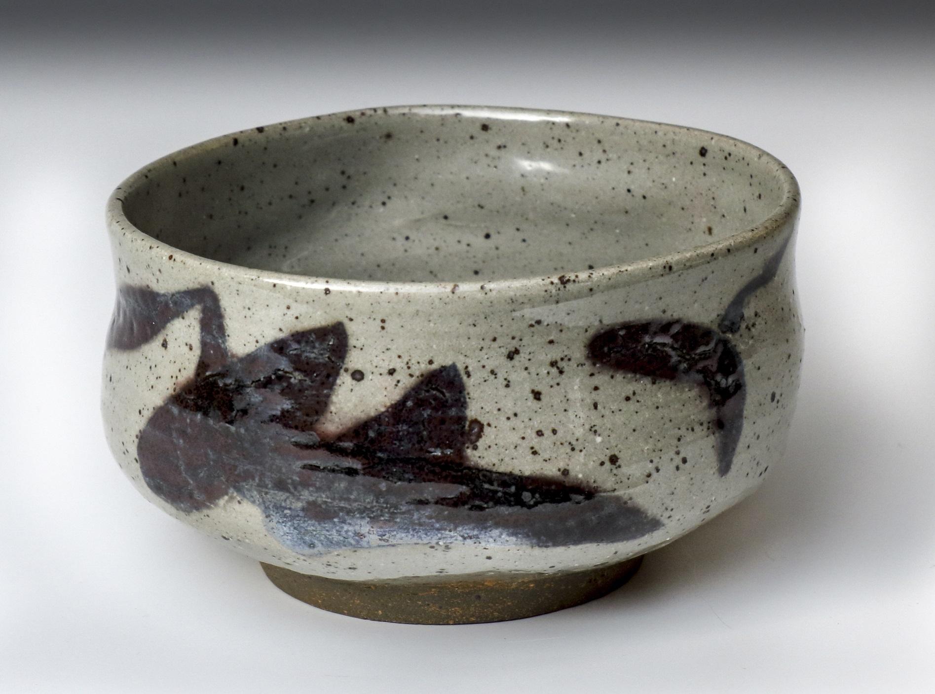 Ana-Belén Montero: Chawan en grès pyrité, émail céladon sur oxydes, cuisson dans un four à bois à 1280°C, 2014.