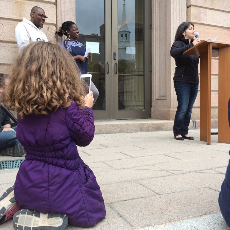 My daughter takes a picture of me speaking at an NAACP rally in Lancaster City in opposition to a KKK rally in another part of the county.