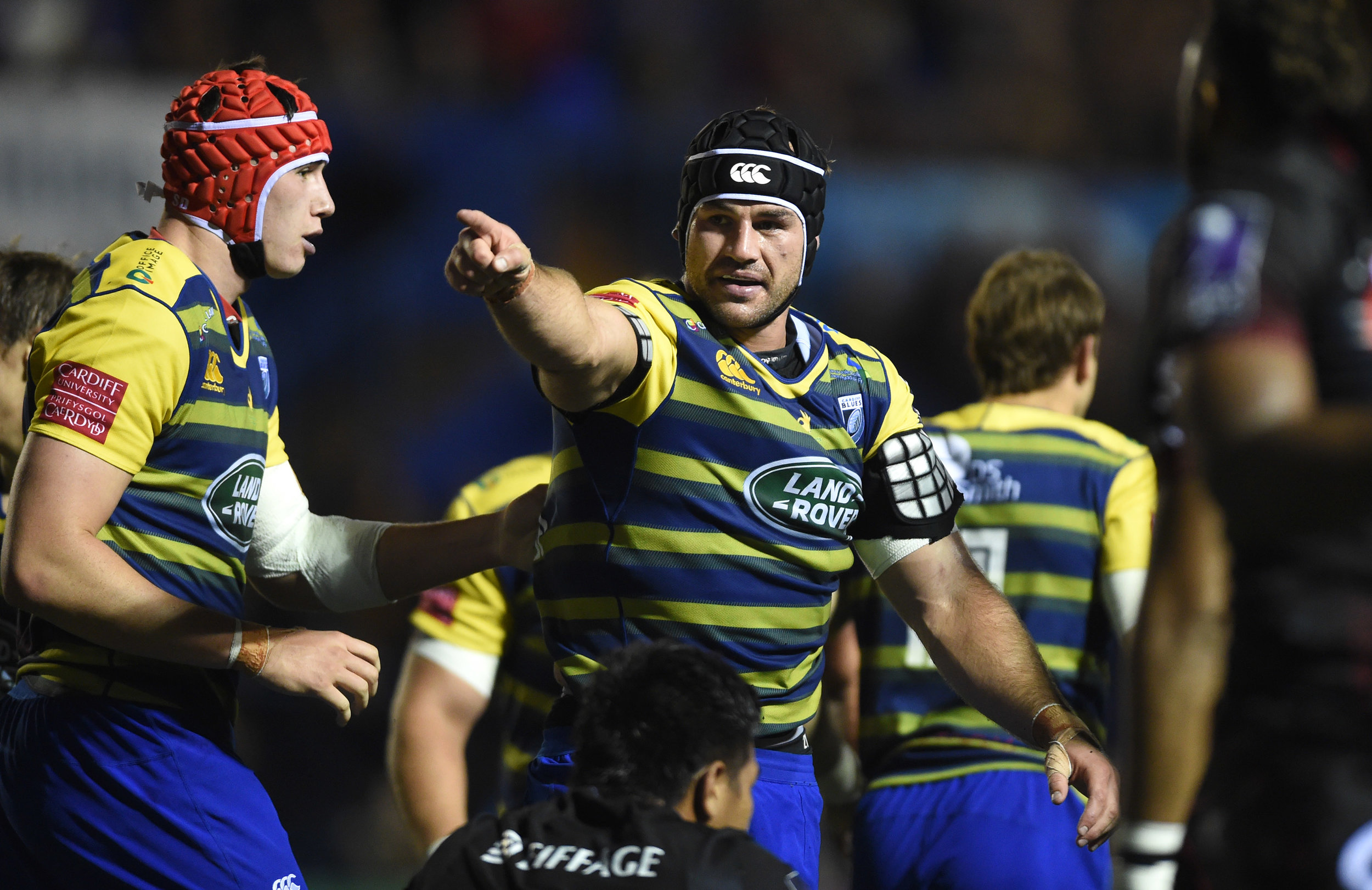 George Earle of Cardiff Blues celebrates scoring a try against Lyon