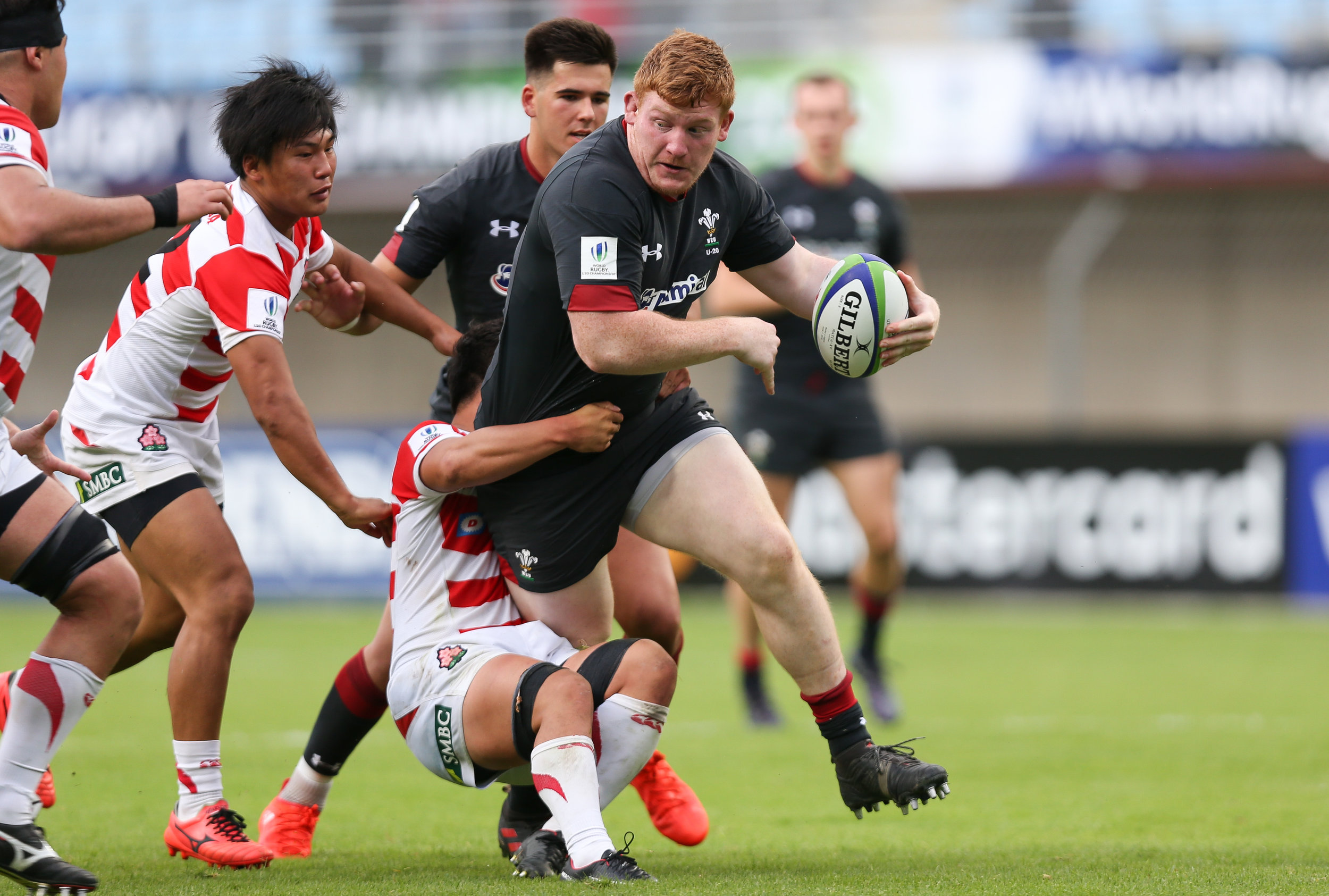 Rhys Carre playing for Wales against Japan in the World Rugby U20 Championship