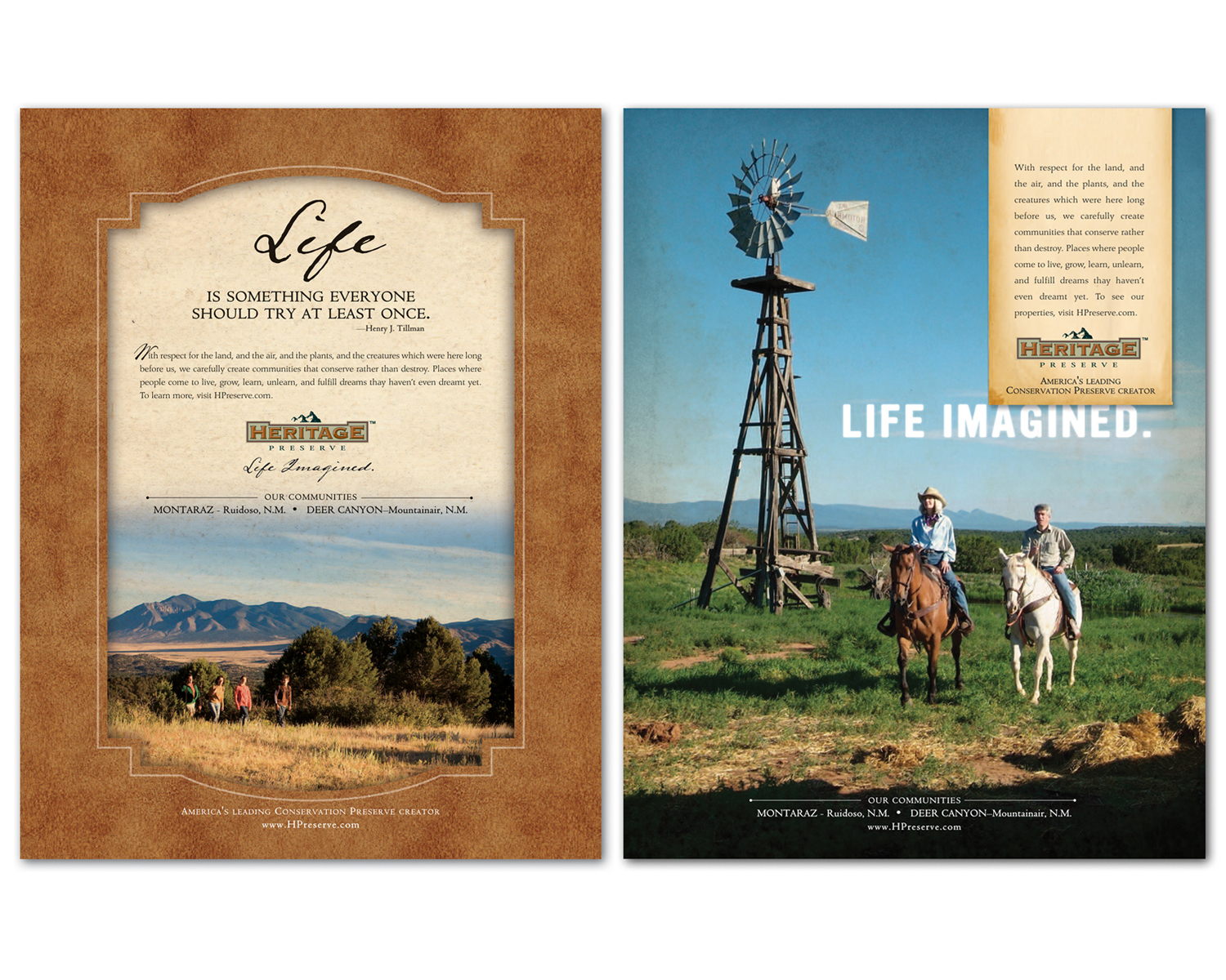 National Print Ads for Heritage Preserve in Ruidoso, New Mexico