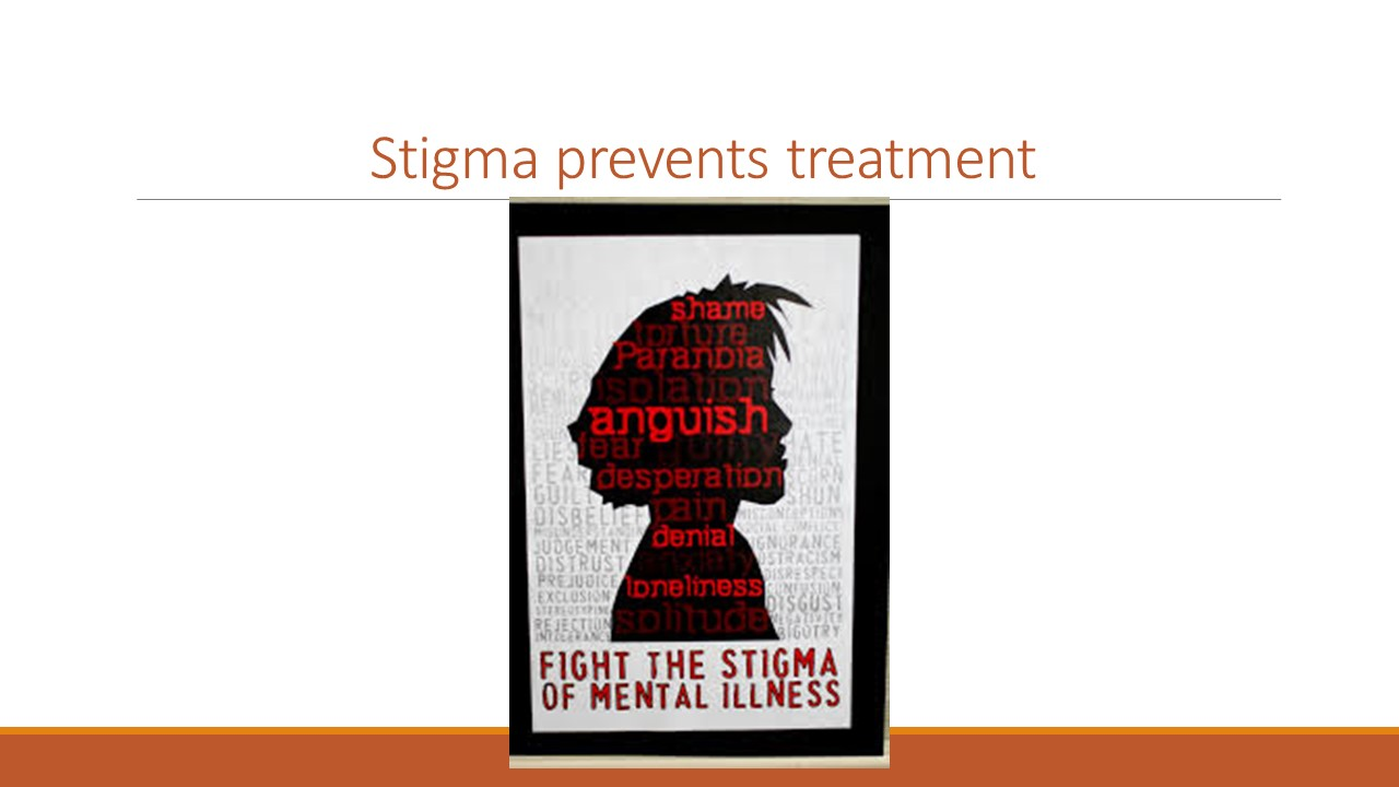 According to the World Health Organization, it is stigma, discrimination and neglect that prevent care and treatment from reaching people with mental disorders.  On an individual level, stigma keeps people from telling anyone that they are having mental health problems. Stigma prevents treatment and recovery. Stigma limits opportunities. Stigma keeps people from admitting their struggles even to themselves.  On a systemic level, stigma creates barriers for public health efforts. Stigma results in lower prioritization of public resources allocated to mental health service. And it results in a poorer quality of care being delivered to people with mental illness.