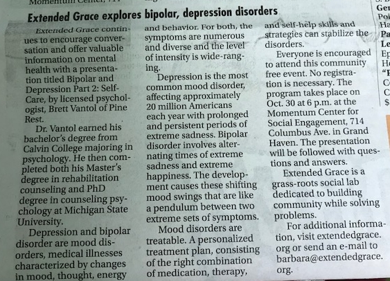 EXTENDED GRACE EXPLORES BIPOLAR, DEPRESSION DISORDERS