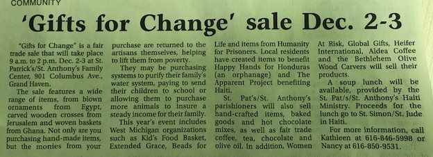 'GIFTS FOR CHANGE' SALE DECEMBER 2-3