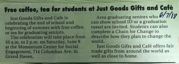 FRESH COFFEE, TEA FOR STUDENTS AT JUST GOODS GIFTS AND CAFE