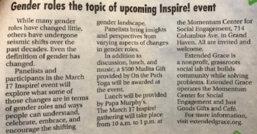 GENDER ROLES THE TOPIC OF UPCOMING INSPIRE! EVENT