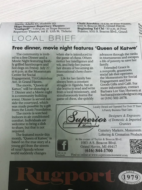 Free Dinner, Movie Night Features 'Qween of Katwe'