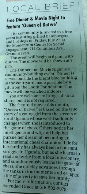 Free Dinner and Movie Night To Feature 'Qween of Katwe'