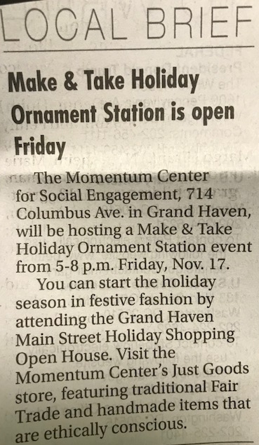 MAKE AND TAKE HOLIDAY ORNAMENT STATION IS OPEN