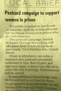 POSTCARD CAMPAIGN TO SUPPORT WOMEN IN PRISON