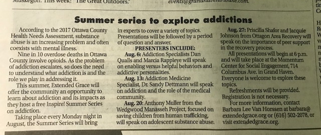 Summer Series To Explore Addictions