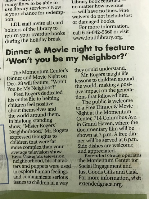 Dinner and Movie night to feature 'Wont you be my Neighbor?'