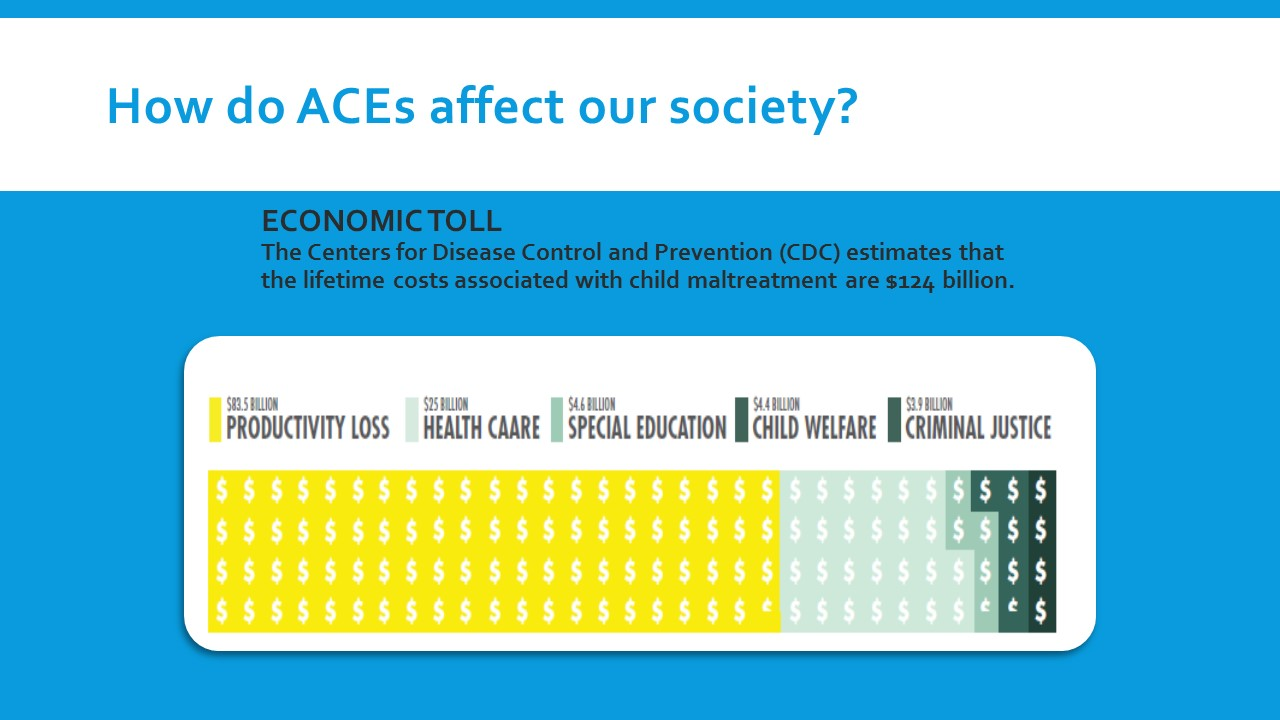 Tend to think about ACE's and their consequences for Criminal Justice, Child Welfare, Special Ed., and Health Care. By far the biggest economic consequence is the productivity loss as evidenced by the Yellow above.