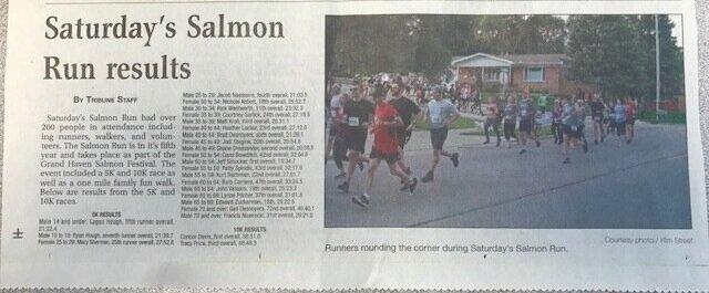 Saturday's Salmon Run results