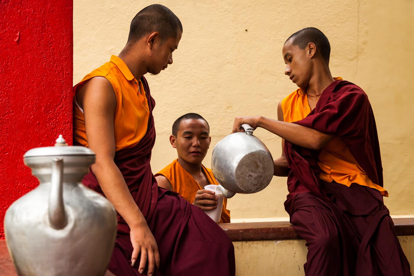 Buddhist Monks at The Namdroling Nyingmapa Monastery, Bylakuppe, Karnataka, India