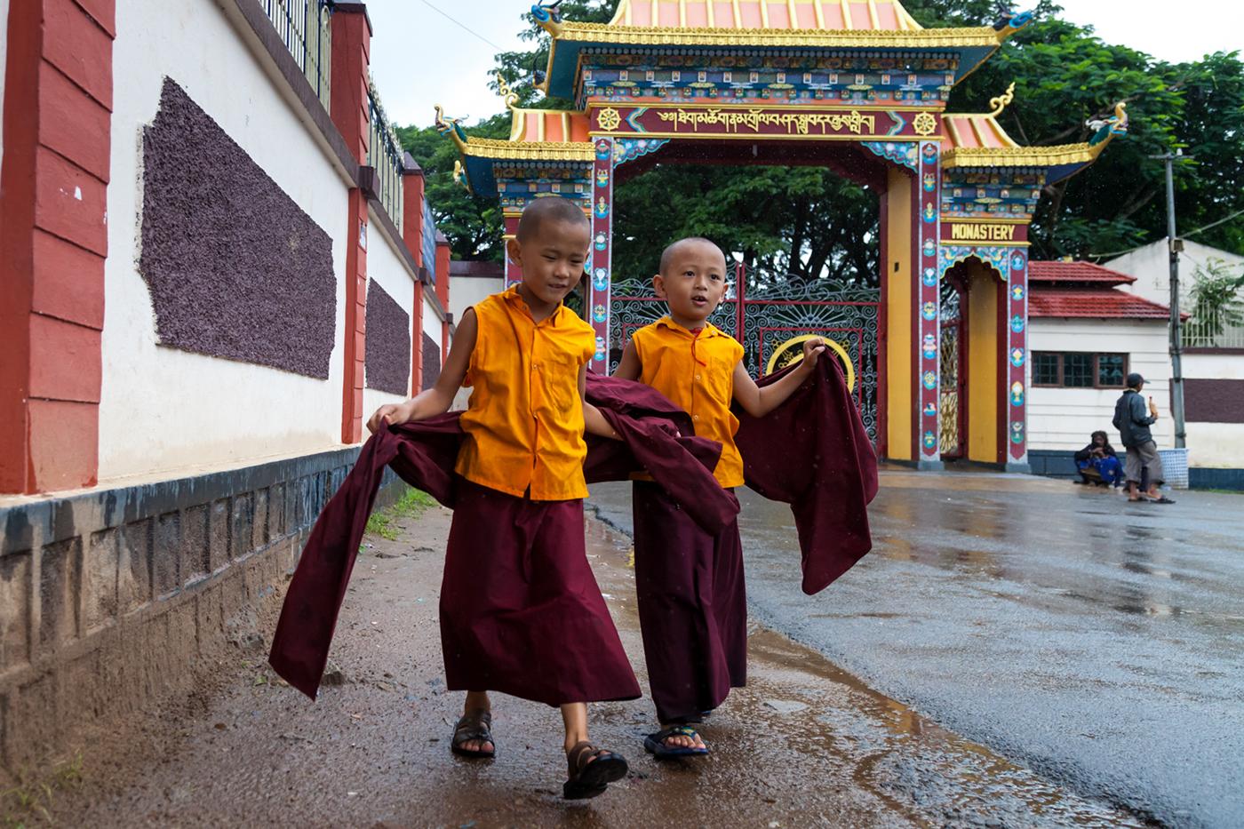 Little Buddhist Monks at The Namdroling Nyingmapa Monastery, Bylakuppe, Karnataka, India