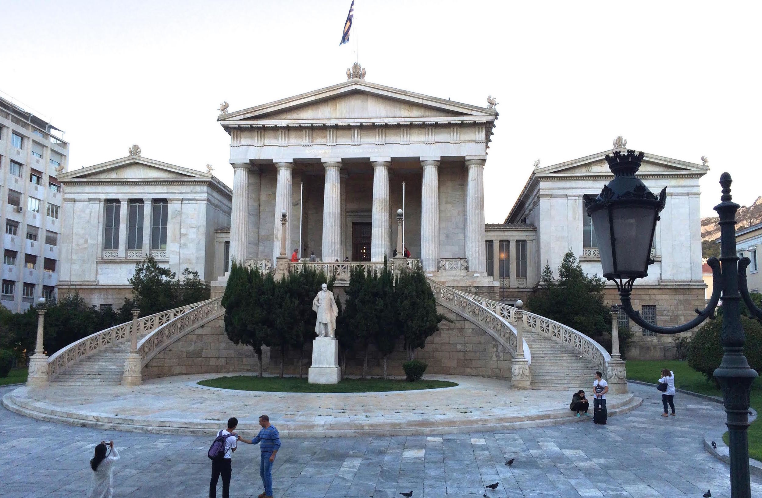 A trilogy of neoclassical buildings that were originally the location of Athens University. Today it is the National Library of Greece.