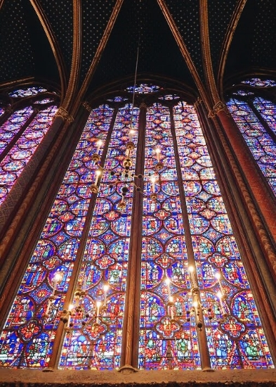 A photo from Astrid's latest trip to Paris of the beautiful stained glass in the historic Sainte Chapelle