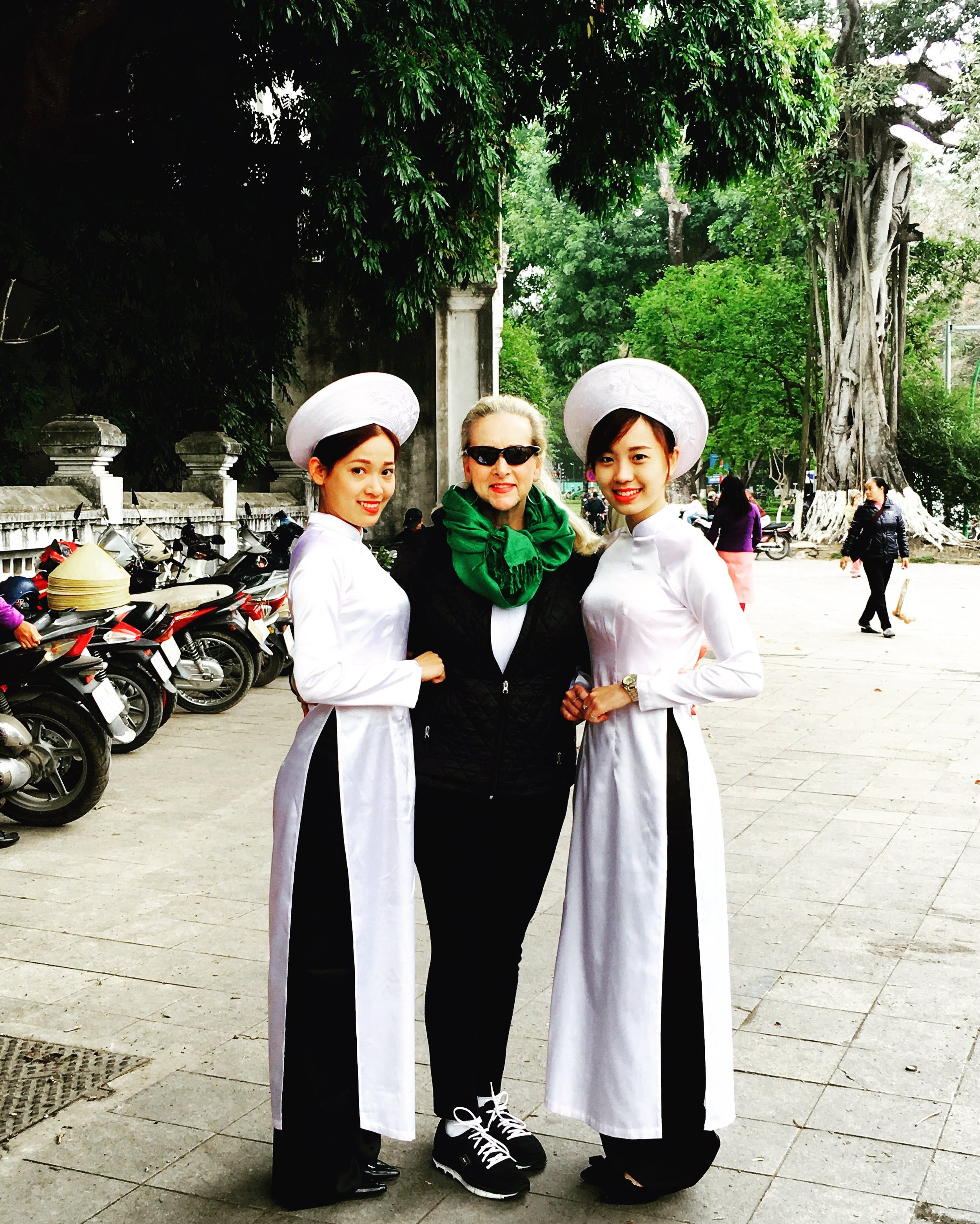Astrid with newfound friends in Hanoi