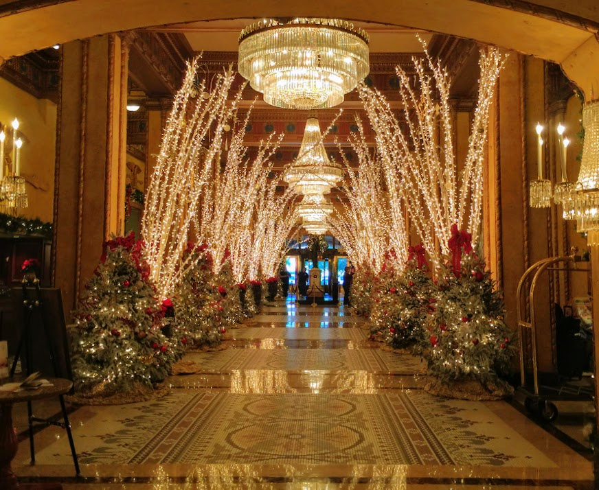 The Roosevelt Hotel lobby at Christmastime in New Orleans is simply iconic