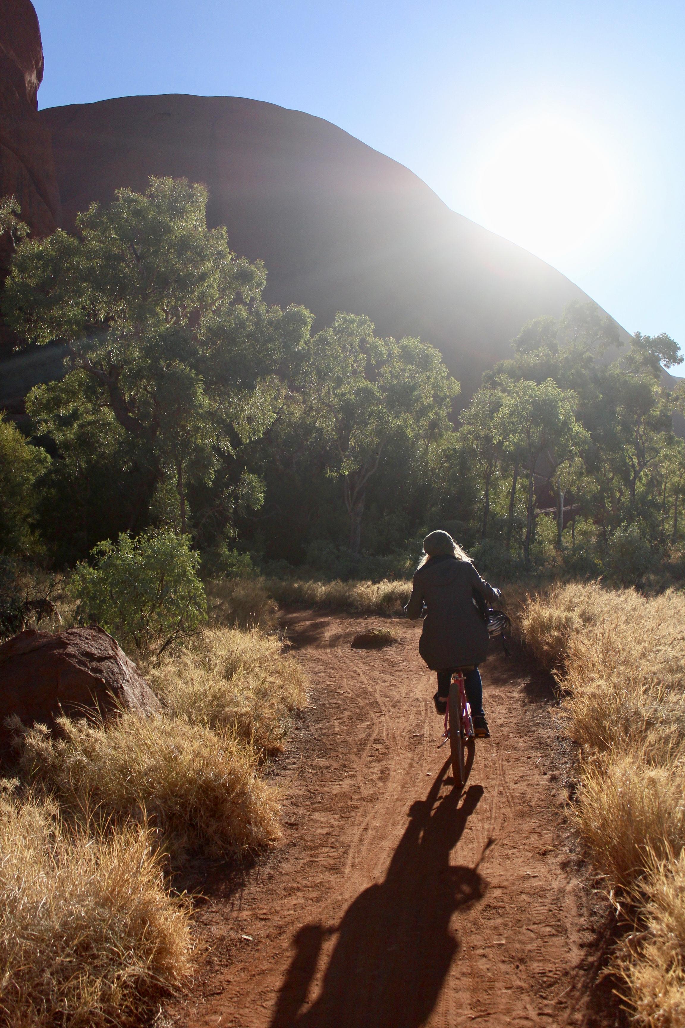 Riding bikes around Uluru