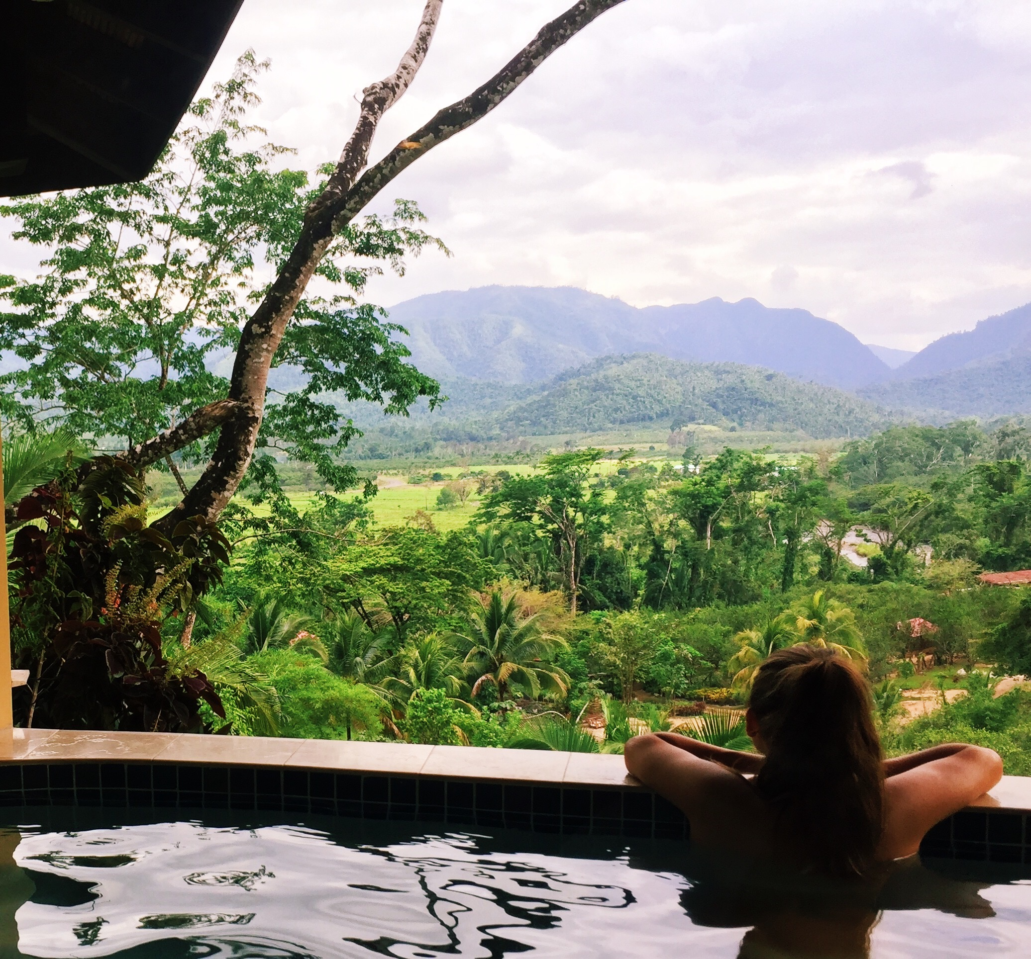 Peering out at the sleeping giant from the private plunge pool