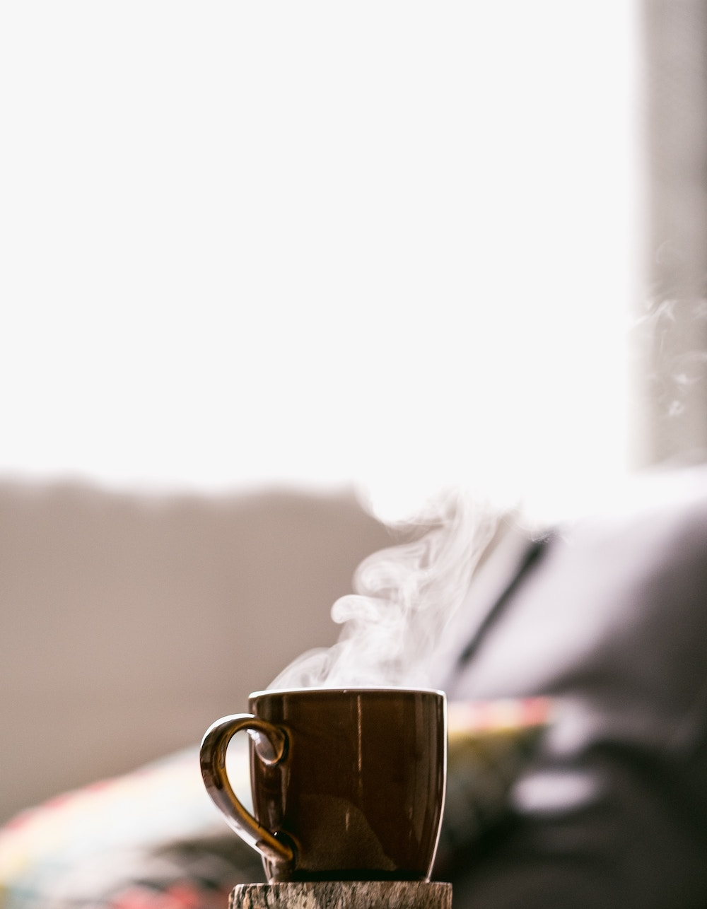 hot cup of coffee in the morning