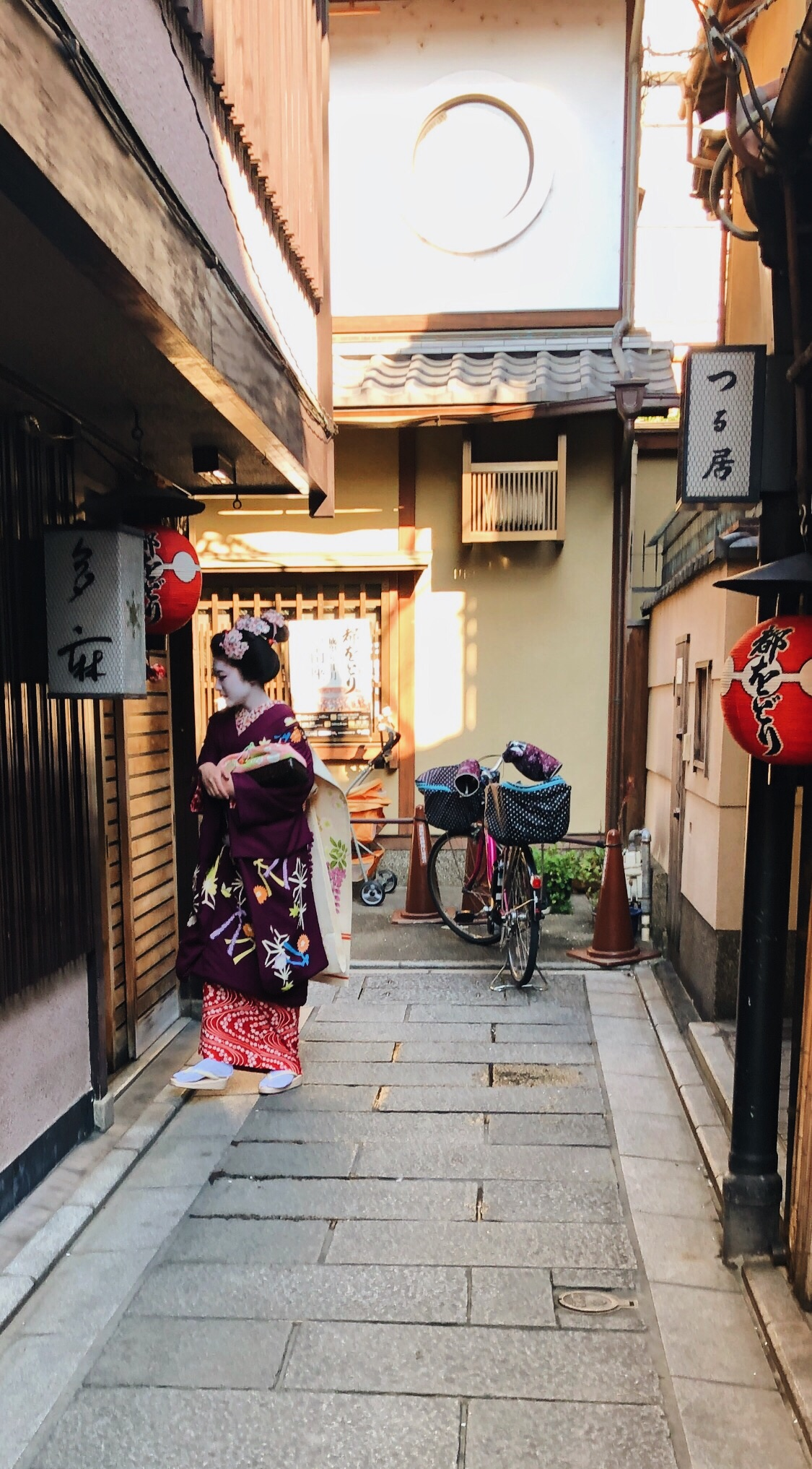 I barely caught a glimpse of this geisha as she dashed from one building to the next!