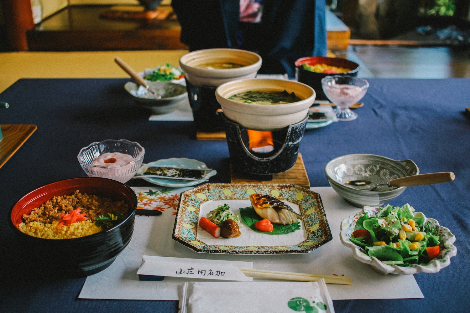 traditional Japanese meal at low table