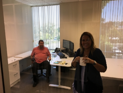 Mike V. and Orchid getting a feel for Mike's new office