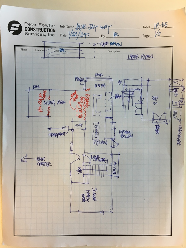 Handwritten floor plan drawn by the inspector in the field during the inspection.
