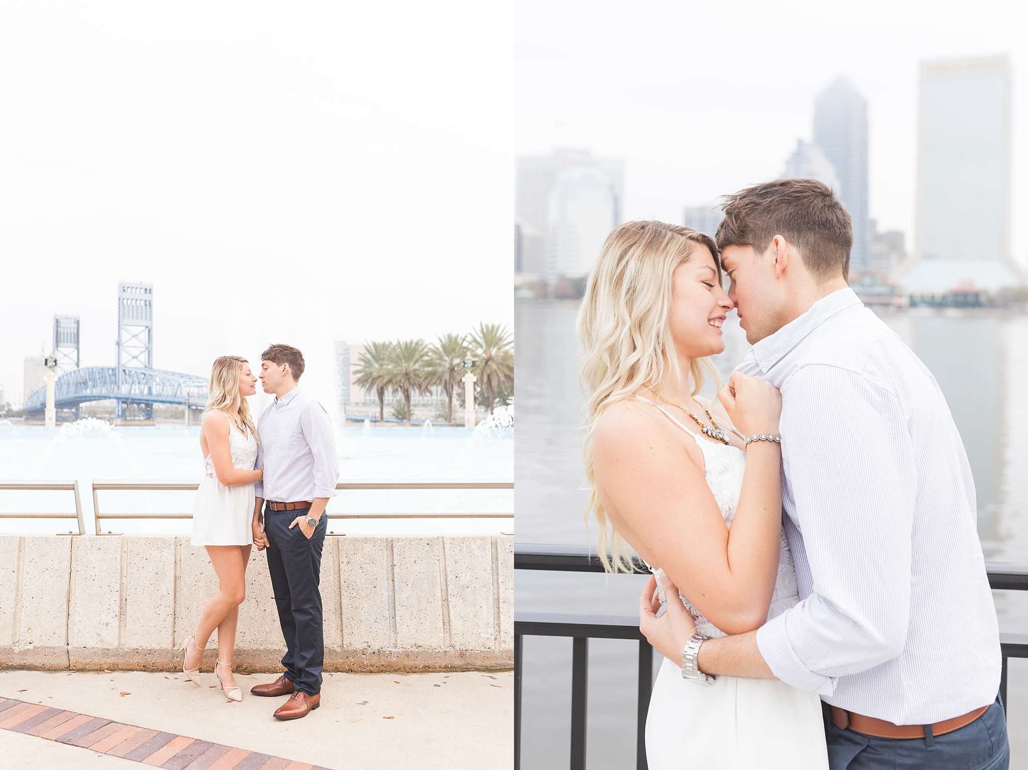 Surprise engagement session in downtown Jacksonville, FL. A surprise proposal taken place on top of buildings, and skyscrapers in Florida urban area.
