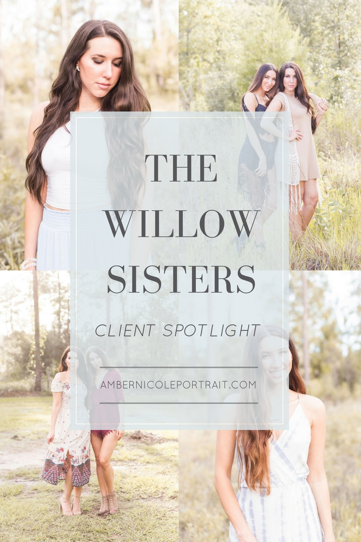 Branding photos shoot for The Willow Sisters, an acoustic pop duo in Jacksonville, FL. Amber Nicole Portrait, a boutique, makeover, photography studio based in Jacksonville, FL. As the owner and lead photographer, she offers portrait photography in the greater Jacksonville area, Saint Augustine, the State of Florida, and is available for travel. She has developing her ethereal, natural, and bright style since 2012.