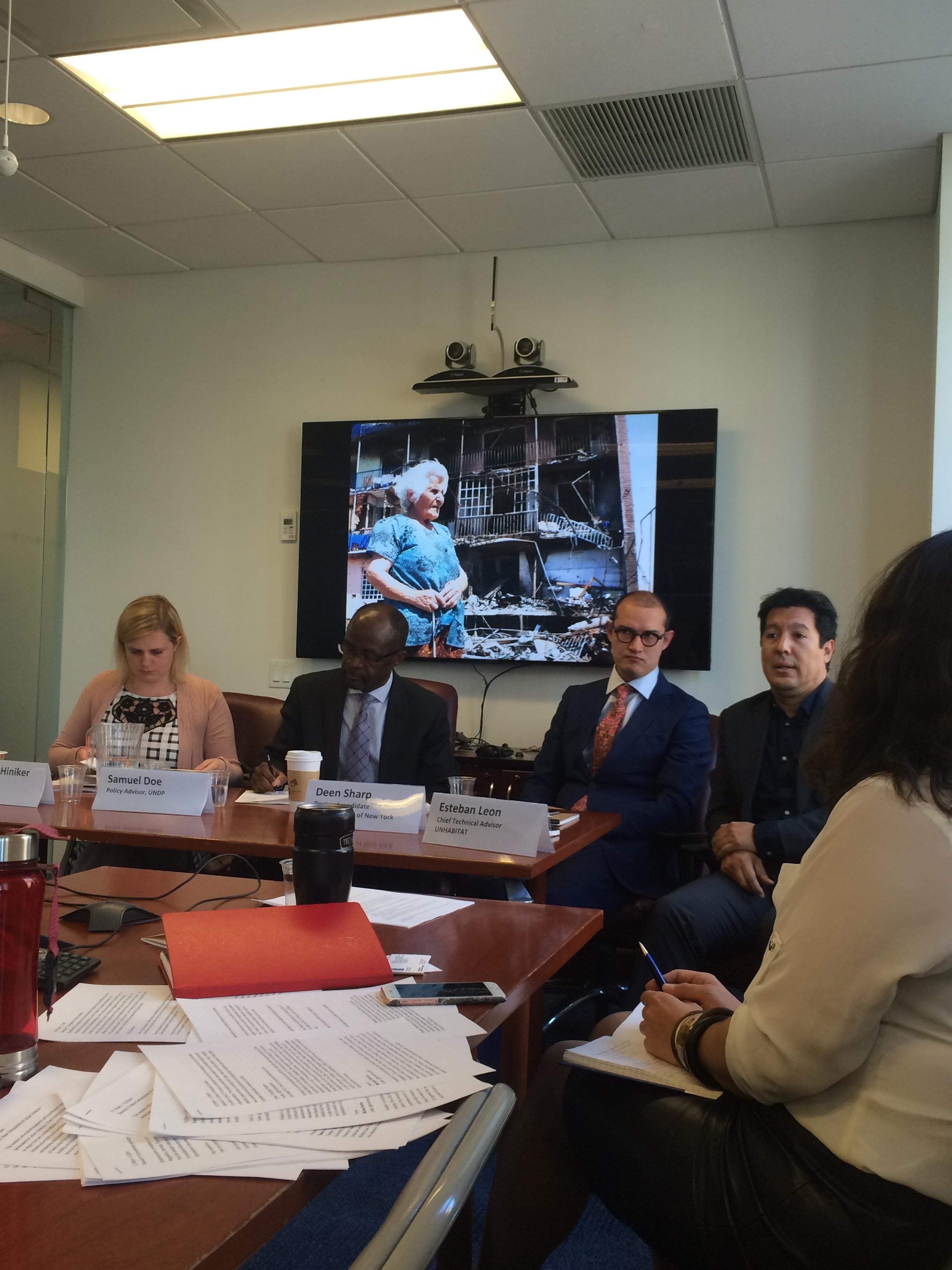 Panel II 'New Geographies of Urban Violence' (L-R)Alexandra Hiniker,PAX representative to the UN;Samuel Doe, Policy Advisor, UNDP; Deen Sharp, Doctoral candidate at the City University of New York;Esteban Leon,Chief Technical Advisor, UNHABITAT. Photo: Reem Aliessa