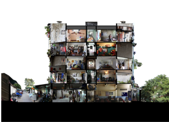 """Sereypagna Pen, Schizoanalysis of White Building, 2015, Phnom Penh, Cambodia. © Sereypagna Pen.   Genealogy of Bassac  presents a careful architectural study of an area in downtown Phnom Penh constructed on twenty-four hectares of landfill along the swampy floodplain of the Bassac River from the perspectives of artists and residents who have lived through five decades of genocide, exile, return, and eviction. It highlights a new creative generation in Phnom Penh whose emergence is a counter narrative to the current """"casino urbanism"""" of the Cambodian regime."""